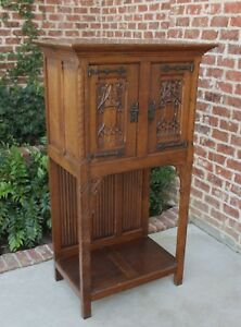 Antique French Carved Oak Gothic Sacristy Altar Wine Vestry Cabinet Bar Catholic