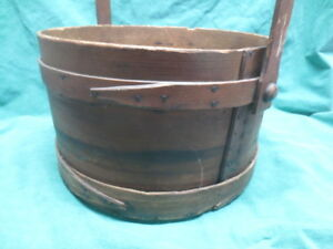 Large Antique Wooden Bentwood Finger Jointed Firkin Bucket Pail