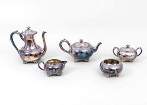 Beautiful 5 Pc Silverplate Coffee Tea Set Wilcox Beverly Manor R Monogram Is