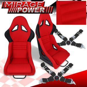 Red Racing Fiberglass Cloth Racing Seats Pair 4 Point 2 Safety Seat Belts