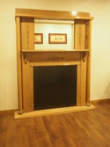 Large Antique Wooden Fireplace Mantel Home Decoration