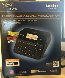 Brother P touch Pt d600 Pc connectable Label Maker With Color Display Black New