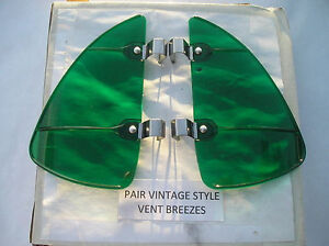 New Pair Of Green Colored Vintage Style Air Vent Deflectors