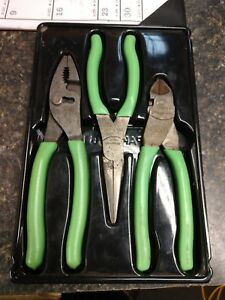 Snap On Tools Pliers Set Cutter Needle Nose Slip Joint Green Vinyl Pl307acfg