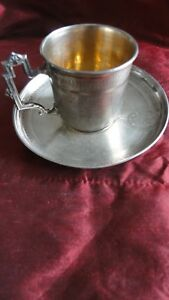 Antique French Sterling Silver Tea Cup Louis 16 Style 19th Century