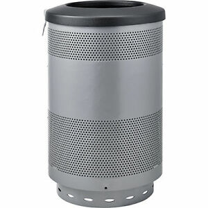 55 Gallon Perforated Steel Receptacle With Flat Lid Gray Lot Of 1