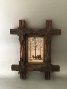 Antique Vtg Eastlake Criss Cross Leaves Carved Wood Picture Frame W Needlepoint