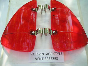 New Pair Of Red Colored Vintage Style Air Vent Deflectors
