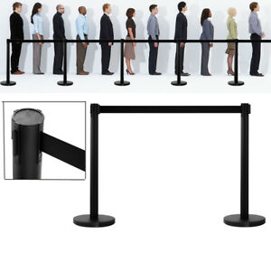 High Quality 2 Pcs Crowd Control Barrier Stanchion Posts Queue Pole Black Belt