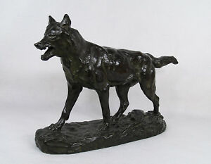 Antoine Louis Barye French 1795 1875 Antique Bronze Figure Of A Walking Wolf