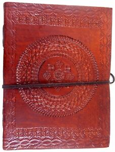 Floral Embossed Handmade Leather Journal Notepad Notebook Blank Paper Diary E5