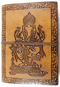 Ganesha Embossed Handmade Leather Journal Notepad Notebook Blank Paper Diary D7