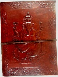 Ganesha Embossed Handmade Leather Journal Notepad Notebook Blank Paper Diary D8