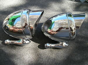 New Pair Of Chrome Metal Vintage Style Dummy Spot Lights With Visors