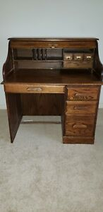 Antique Solid Oak Roll Top Desk Old Desk Office 1900s