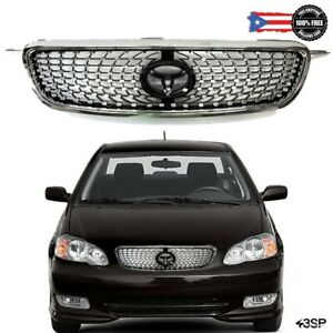 Fits 2003 2008 For Toyota Corolla Chrome Front Upper Hood Grille Diamond Style