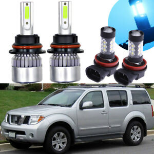 4x Led Headlight Conversion Kit Bulb 8000k Fog Light For Nissan Pathfinder 05 12