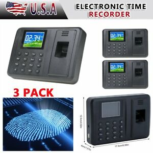 3x 2 8 Attendance Machine Recorder Biometric Fingerprint Time Clock Reader Sn