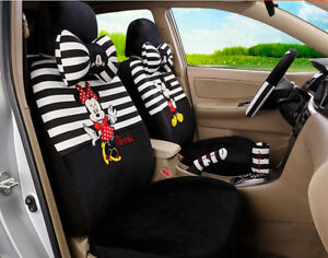 18pcs Set New Plush Cartoon Mickey Mouse Universal Car Seat Cover Black Stripe