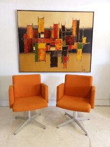 Pair Vintage Mid Century Orange Cube Club Lounge Office Chairs Pedestal Base