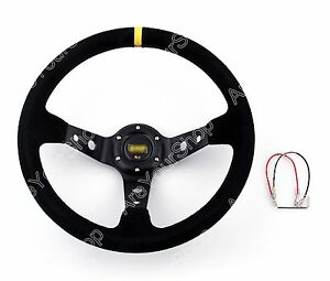 Universal Car Auto Racing Steering Wheel Suede Leather Aluminum Frame Black Us