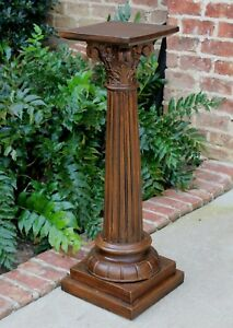 Antique French Oak Pedestal Bronze Display Table Fluted Column Plant Stand 2