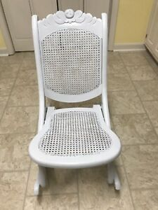 Folding Wood Rocking Chair W Cane Bottom Back Foldable For Storage Will Ship