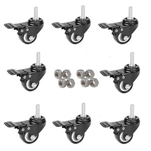 Mysit 2 Swivel Casters With Brake Lock Heavy Duty M10x25 Rubber Caster 8pack