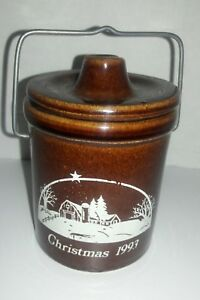 Vintage Christmas 1993 Cheese Butter Crock Brown Glazed