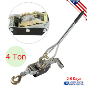 Usa 4 Ton Hand Puller Come Along Cable Hoist Hook 8000lb Heavy Duty New