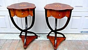 Pair English 1950c Rare Inlaid Lacquered Bentwood Pedestal Side Tables W Drawers