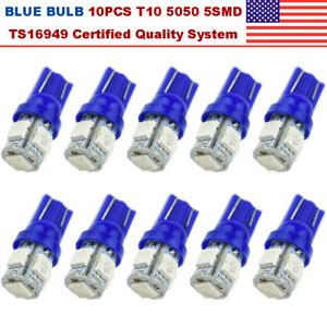 10x 12v 5smd Wedge Led Blue Super Bright Car Light Bulb T10 5050 W5w 158 168 194