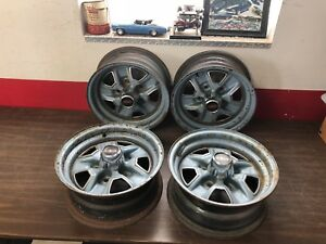 1960 s 1970 s Vintage Oldsmobile 14x6 Jj Code Rally Wheels W Center Caps Set