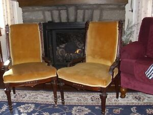 2 Eastlake Antique Victorian Walnut Parlor Side Dining Chairs Beautiful