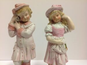 Antique Germany Bisque 11 Girl Boy Figurines Pair