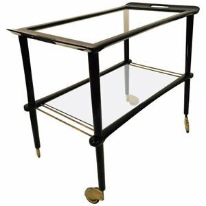 Mid Century Modern Italian Wood Glass Bar Cart 1950s Vintage