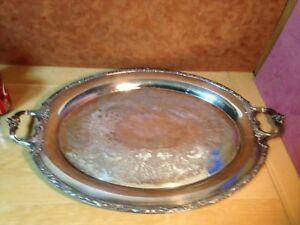 Vintage Wilcox International Silver Co Large Handled Butler Tray 23 Inches