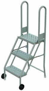 3 step Tilt And Roll Ladder Perforated Step Tread 54 Overall Height 300 Lb