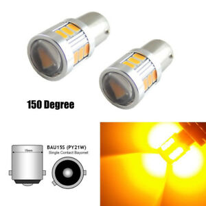 2pcs Amber Yellow 18 Smd Bau15s 7507 Led Bulb For Turn Signal Lights Durable