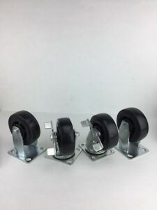 Lot Of 4 5 Wheels 2 Swivel Locking 2 Rigid Casters New