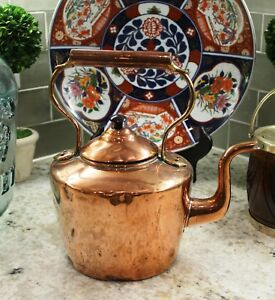 Antique English Copper Tea Kettle Teapot With Lid Coffee Pot Water Kettle 2