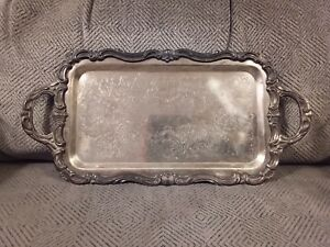 Vintage 1883 F B Rogers Co Silver Plate Serving Tray Platter 6083 9 5 X 6