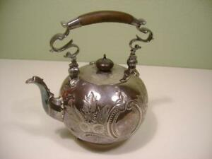 Antique Silver Plate Elkington Co Tea Pot Kettle No Stand Engraving Wood Hand
