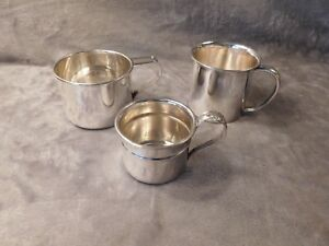 Sterling Silver Baby Cups Lot Of All Sizes For 3 Babies One For Each