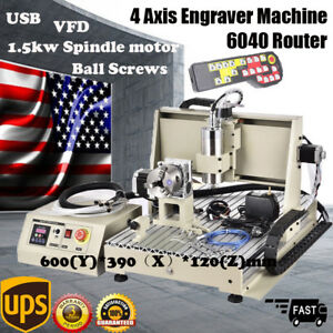 4 Axis 6040 Router Engraving Machine Usb 1 5kw Spindle Carving Machine Rc