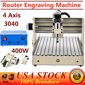 4 four Axis 3040 Cnc Router Engraver Engraving Milling Machine 400w Desktop Usa