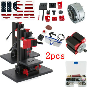 2x 6in1 Mini Multifunction Drilling Sanding Wood turning Lathe Milling Machine