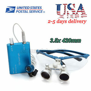 Usa Dental Surgical Medical Binocular Loupes Led Head Light Lamp 3 5x420mm