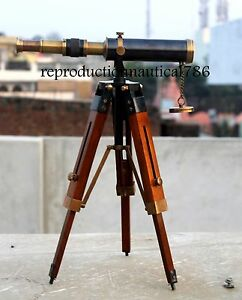 Handmade Two Ton Antique Brass Pirate Spyglass Telescope With Wooden Tripod