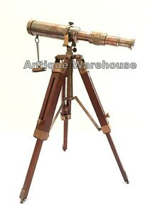Vintage Antique Solid Brass Telescope With Wooden Tripod